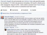 La risposta di Magalli al mio status su Facebook.